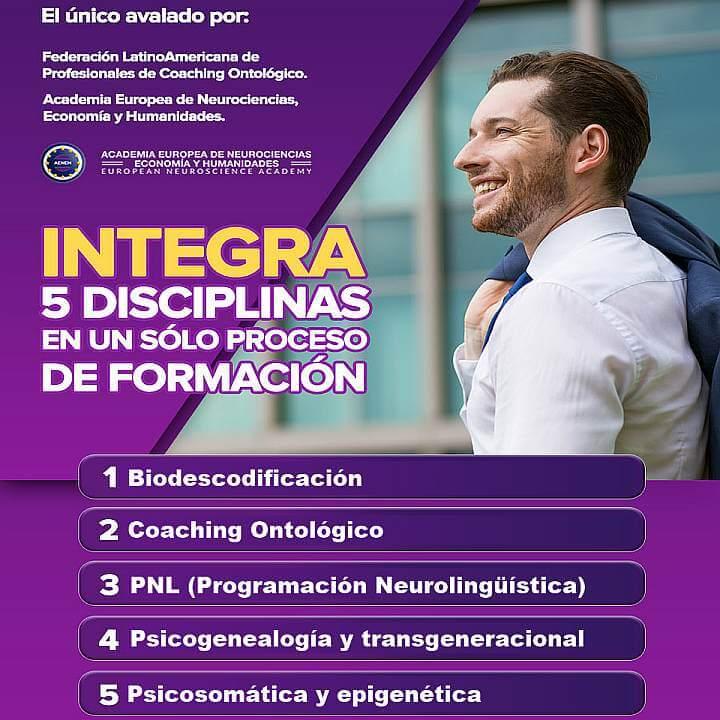 Biodescodificación (Descodificación biológica y emocional) + Coaching Ontológico + PNL (Programación Neurolingüística) + Psicogenealogía y transgeneracional + Psicosomática y epigenética